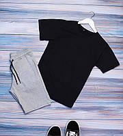 Мужской комплект летний (футболка, шорты)  черный
