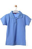 Стильная футболка поло для мальчика 7 лет (122 см). Цвет голубой. Бренд Bittos.