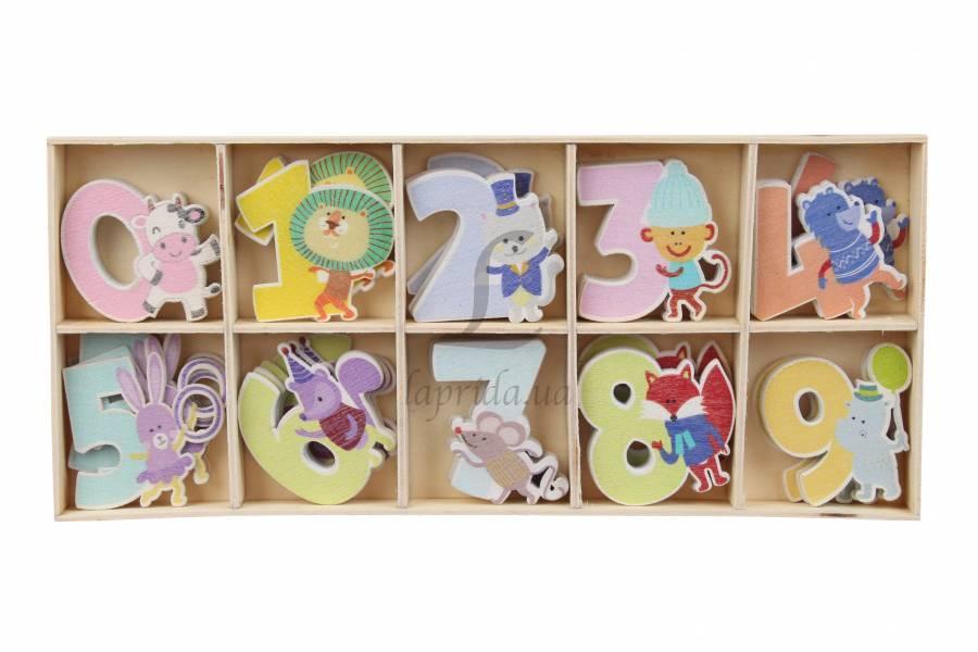 Декоративные цифры с животными разноцветные