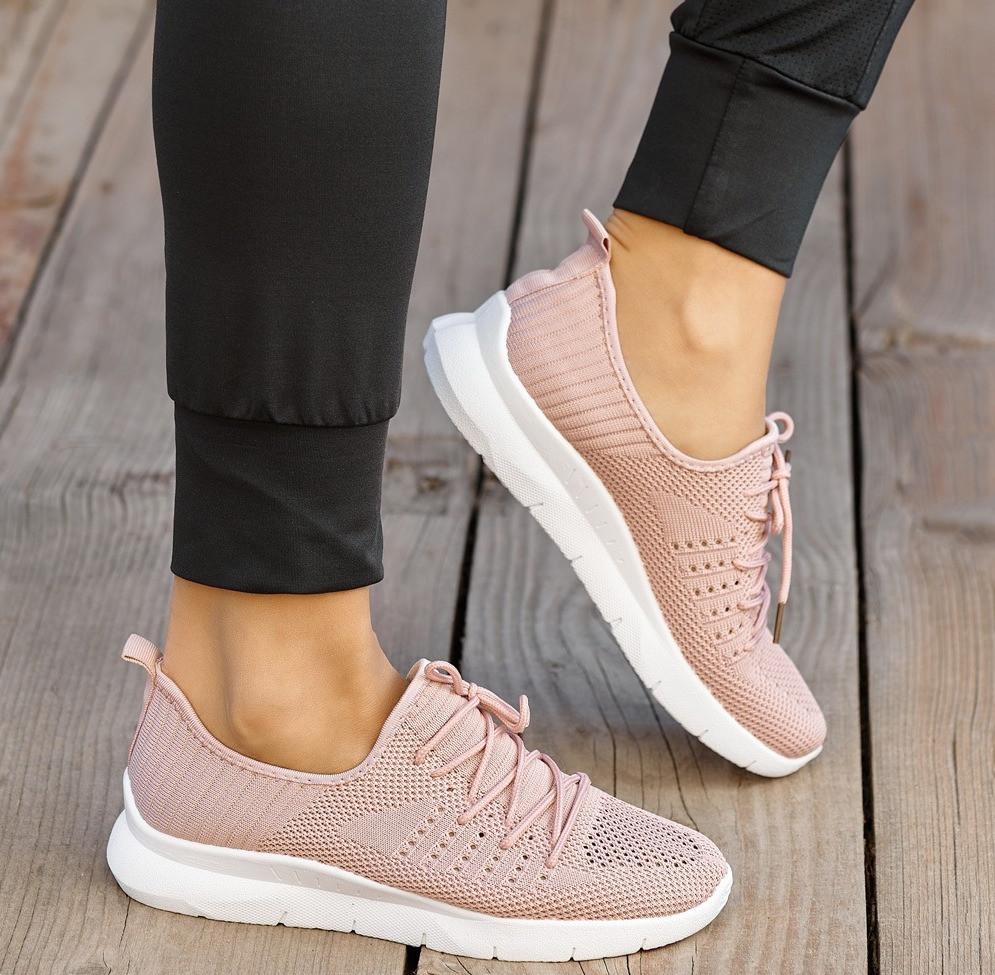 Женские пудровые летние кроссовки из вентилируемого текстиля 1203558622