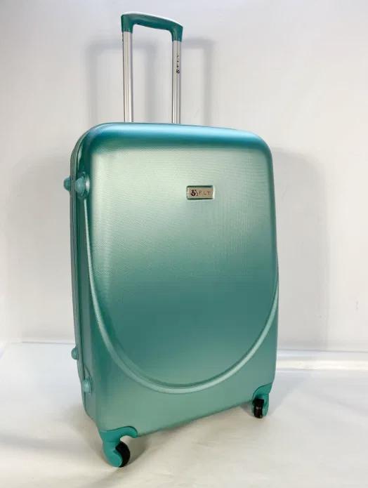 Чемодан пластиковый на колесах FLY K310 большой 110 л. размер L цвет зелено-розовый