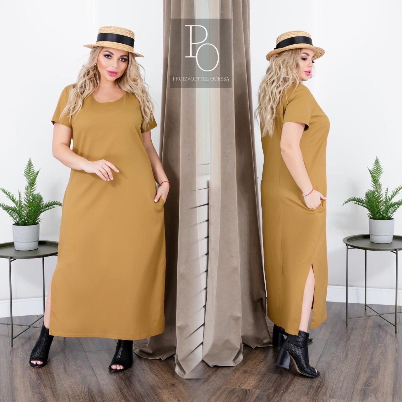 Льняное свободное платье с карманами в боковых швах, с разрезами, р.48-50,52-54,60-62 код 406С