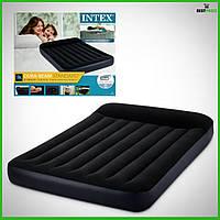 Велюровый полуторный надувной матрас Intex с подголовником (Чёрный)