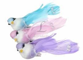 Птички декоративные (голубые, розовые, сиреневые)