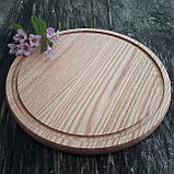 Доска для пиццы 25 см.кухонная разделочная круглая деревянная из ясеня, дуба РД-19, фото 2