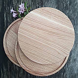 Доска для пиццы 25 см.кухонная разделочная круглая деревянная из ясеня, дуба РД-19, фото 7