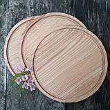 Доска для пиццы 25 см.кухонная разделочная круглая деревянная из ясеня, дуба РД-19, фото 8