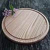 Доска для пиццы 40 см. круглая деревянная разделочная доска из ясеня, дуба РД-9, фото 2