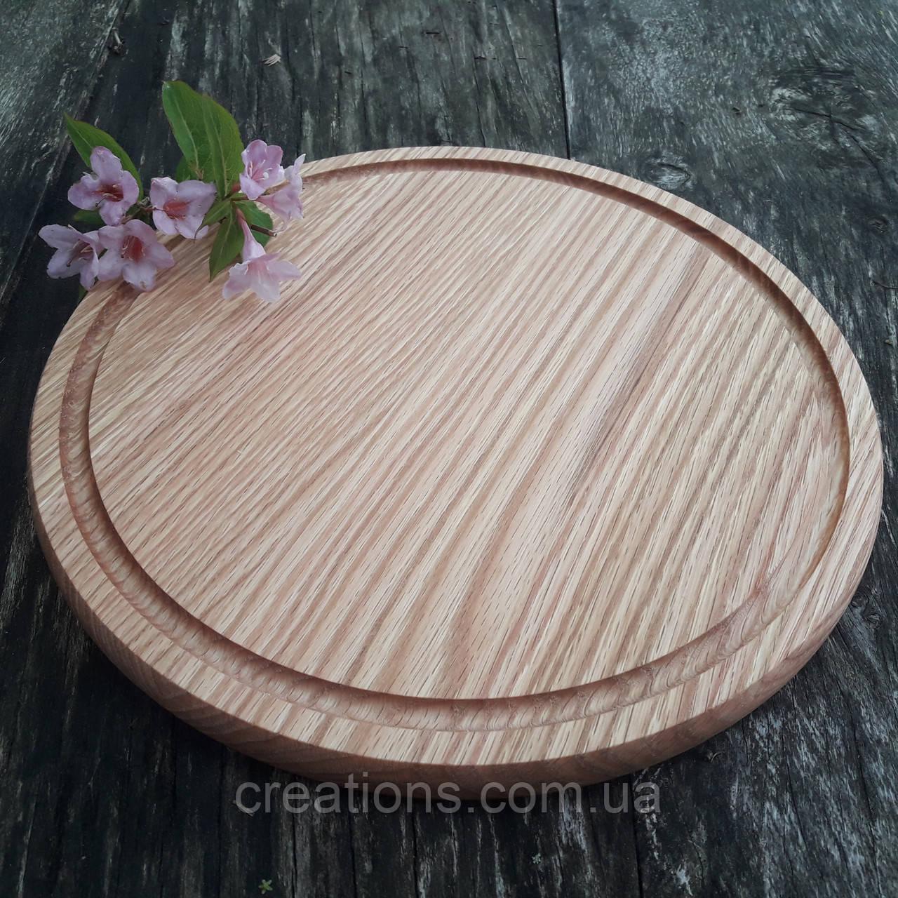 Доска для пиццы 45 см. круглая разделочная кухонная деревянная из ясеня, дуба РД-25