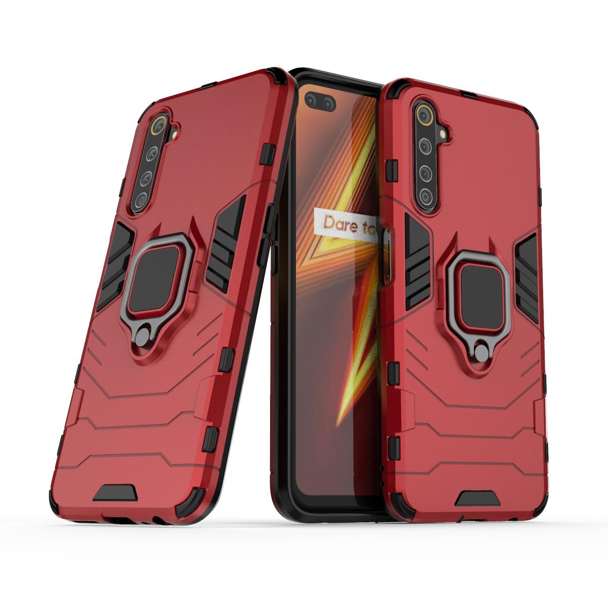 Чохол Ring case для Realme 6 Pro броньований бампер з кільцем червоний