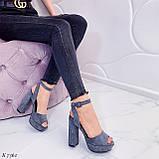Только на 23,5 см и 24,5 см! Босоножки женские серые эко замша на каблуке 13,5 см, фото 7