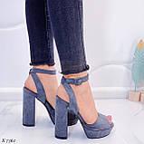 Только на 23,5 см и 24,5 см! Босоножки женские серые эко замша на каблуке 13,5 см, фото 4