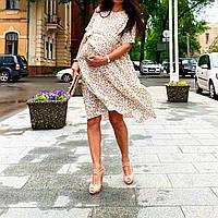 Платье миди для беременных, вагітних, годуючих, гв, кормящих мам принт цветы белое размеры Л и ХЛ