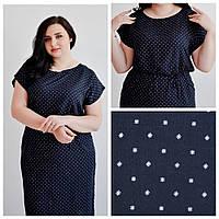 Синее женское платье в мелкий квадратик, из штапеля, большие размеры- 50,52,54,56, от производителя