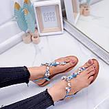 """Жіночі босоніжки блакитні - сині """"Мушля""""з камінням через палець еко - шкіра, фото 2"""