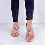 """Жіночі босоніжки блакитні - сині """"Мушля""""з камінням через палець еко - шкіра, фото 4"""