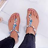 """Жіночі босоніжки блакитні - сині """"Мушля""""з камінням через палець еко - шкіра, фото 3"""