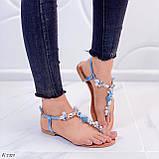 """Жіночі босоніжки блакитні - сині """"Мушля""""з камінням через палець еко - шкіра, фото 7"""