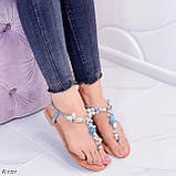 """Жіночі босоніжки блакитні - сині """"Мушля""""з камінням через палець еко - шкіра, фото 8"""
