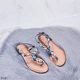 """Жіночі босоніжки блакитні - сині """"Мушля""""з камінням через палець еко - шкіра, фото 6"""
