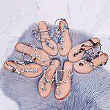"""Жіночі босоніжки блакитні - сині """"Мушля""""з камінням через палець еко - шкіра, фото 9"""