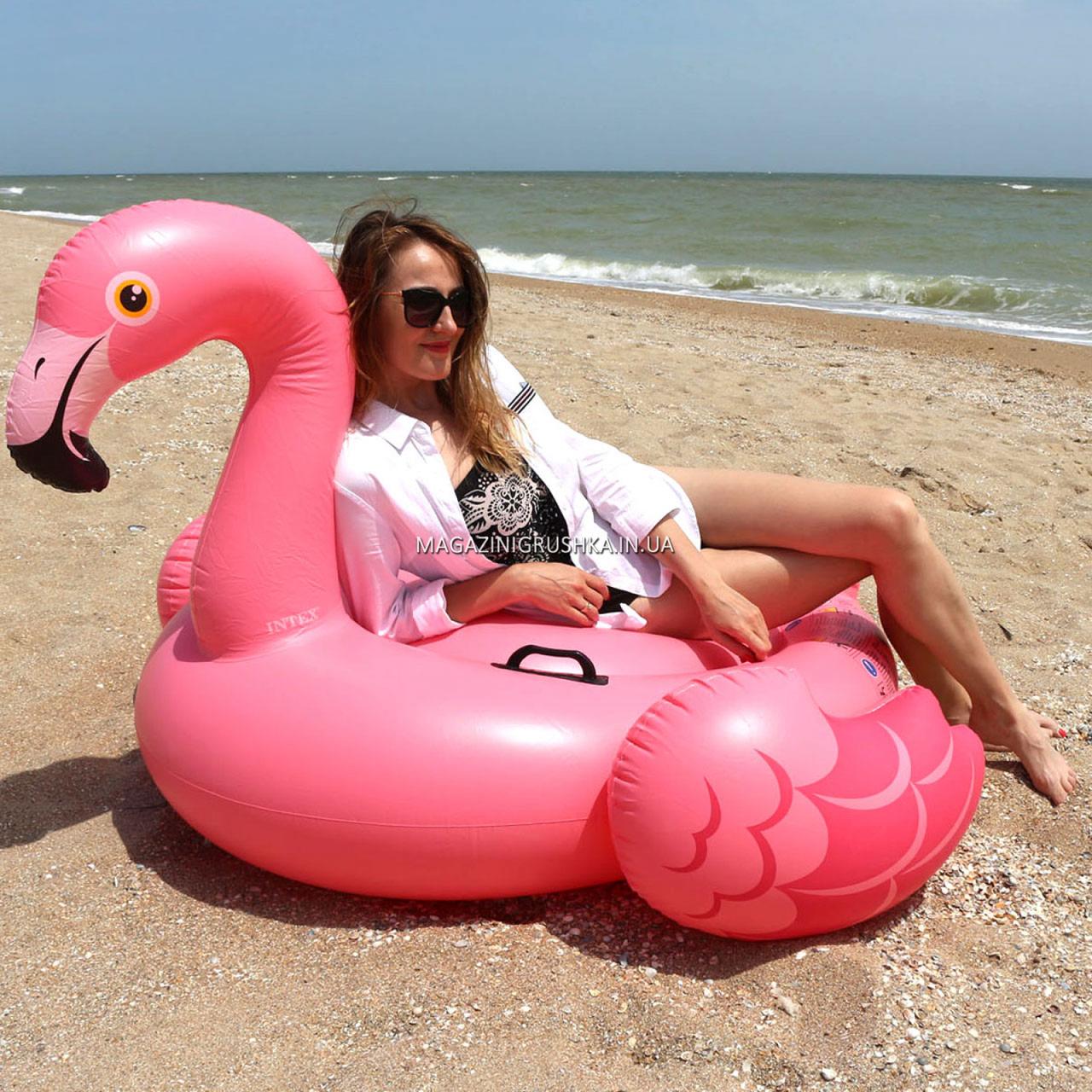 Матрас надувной Intex Розовый Фламинго (Flamingo) арт.57558. Отлично подходит для отдыха на море, в бассейне