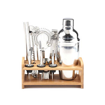 Подарочный набор для бармена Youchen MC-M12 из 12 предметов с подставкой приготовления коктейлей
