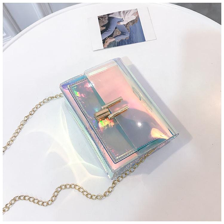Женская голографическая прозрачная сумочка на цепочке клатч прозрачный 0001
