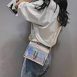 Женская голографическая прозрачная сумочка на цепочке клатч прозрачный 0001, фото 2