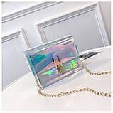 Женская голографическая прозрачная сумочка на цепочке клатч прозрачный 0001, фото 3