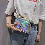 Женская голографическая прозрачная сумочка на цепочке клатч прозрачный 0001, фото 4