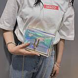 Женская голографическая прозрачная сумочка на цепочке клатч прозрачный 0001, фото 6