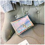 Женская голографическая прозрачная сумочка на цепочке клатч прозрачный 0001, фото 10