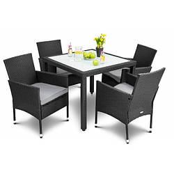 Садовая мебель плетенная VERONA 4+1 черная мебель из искусственного ротанга для дома, сада, кафе и ресторанов