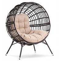 Кресло кокон плетенное на ножках Arancia коричневое для дома, сада, кафе и ресторанов с нагрузкой до 150 кг
