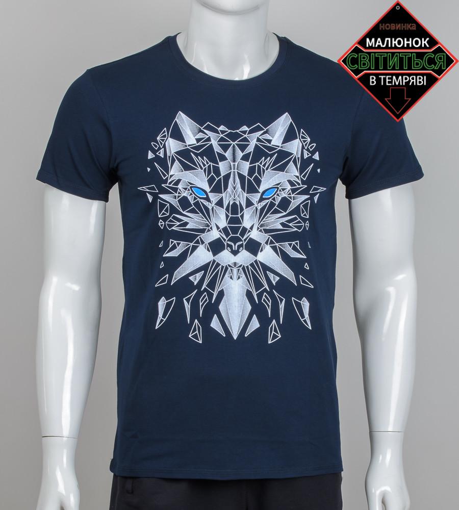 Футболка мужская светящаяся Волк (2054м), Т.Синий