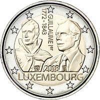 Люксембург 2 евро 2018 «175 лет со дня смерти Великого герцога Гийома I» UNC