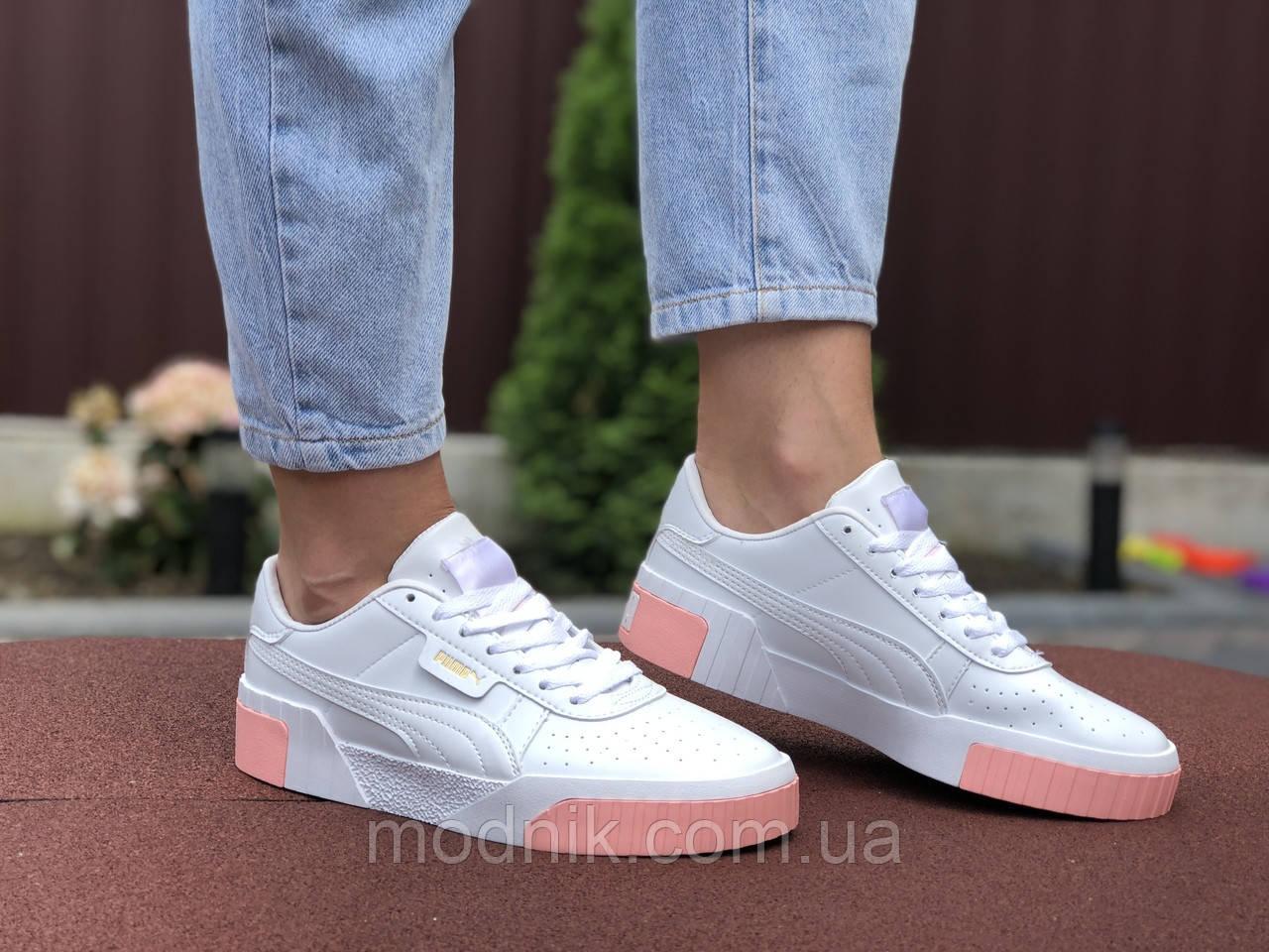 Женские кроссовки Puma Cali (бело-розовые) 9528