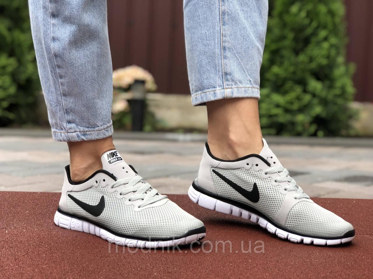 Женские кроссовки Nike Free Run 3.0 (светло-серые) 9538