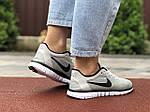 Женские кроссовки Nike Free Run 3.0 (светло-серые) 9538, фото 2