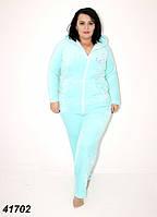 Теплая махровая пижама женская с вышивкой,бирюзовая 52 54
