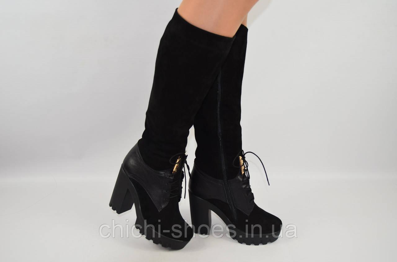 Сапоги женские зимние Olli 22818 чёрные кожа-замша каблук