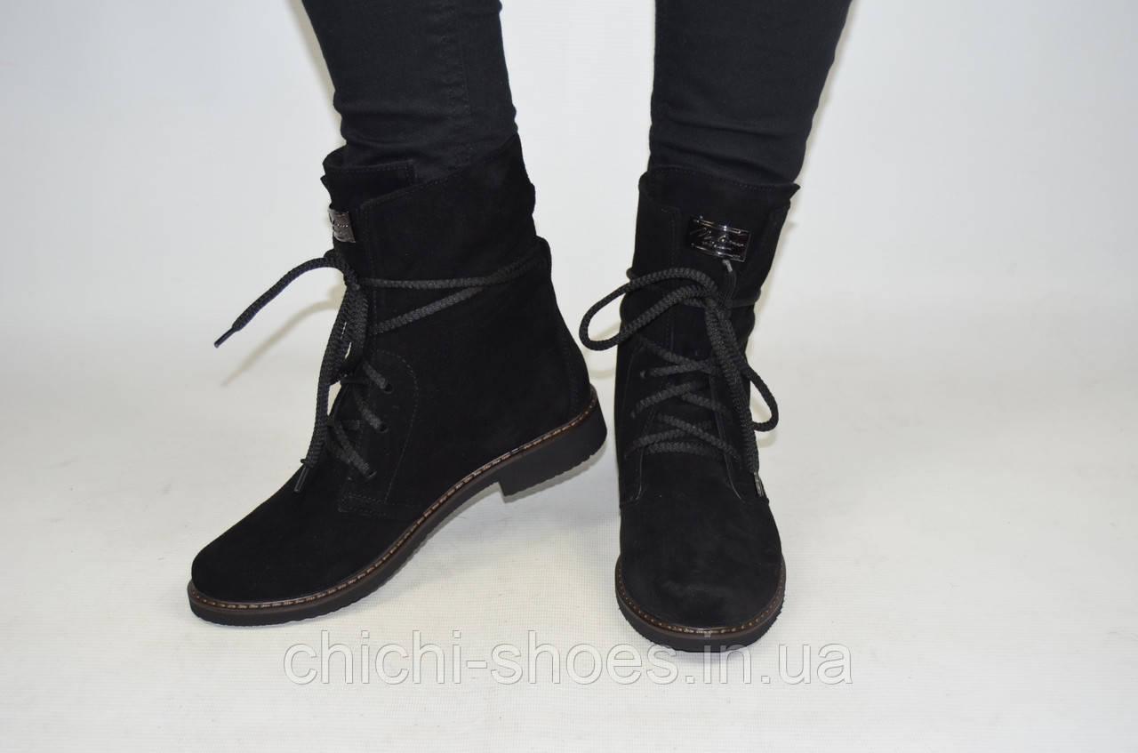 Ботинки женские демисезонные Leal 6227 чёрные замша