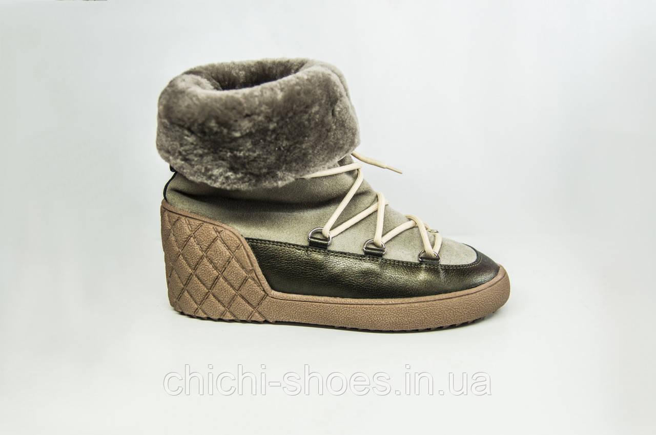 Ботинки женские зимние Kluchini 3924-1 серые кожа