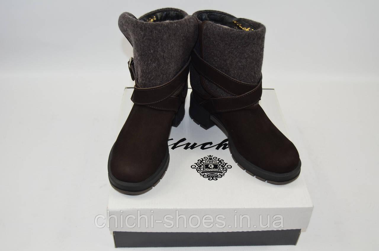 Ботинки женские зимние Kluchini 3733 чёрные кожа
