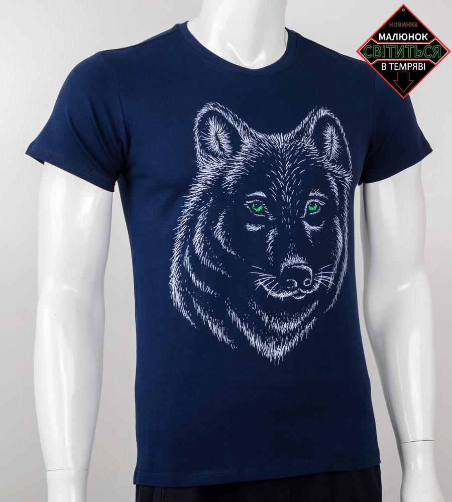 Футболка мужская светящаяся Волк (2020м), Т.Синий