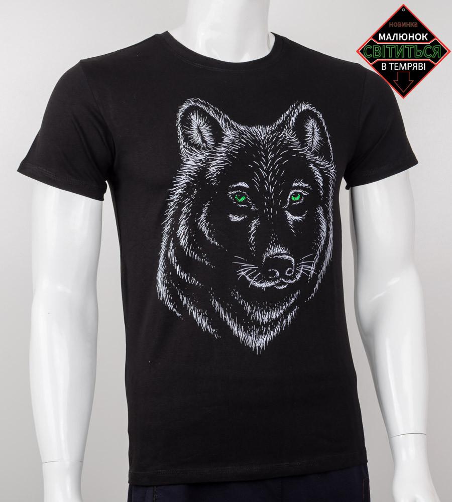 Футболка мужская светящаяся Волк (2020м), Черный