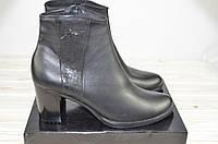 Ботильоны женские LEEX 330 чёрные кожа каблук (последний 41 размер), фото 1