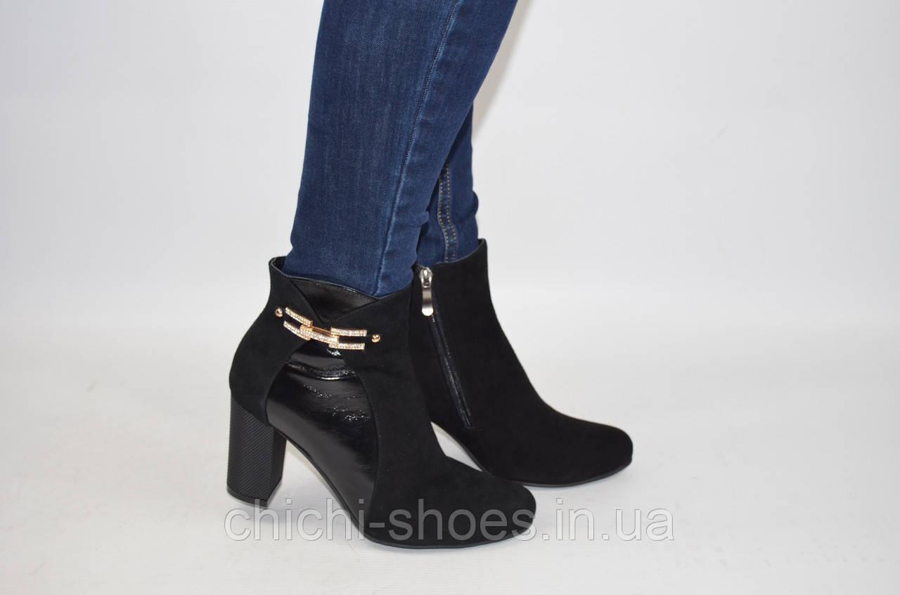 Ботильоны женские Alamo 7-12 чёрные кожа-замша каблук