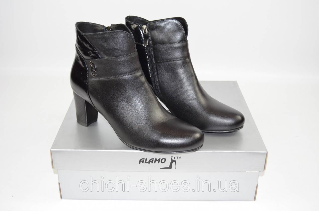 Ботильоны женские демисезонные Alamo7-89 чёрные кожа-лак каблук